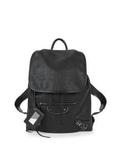 Balenciaga Black Metallic Edge Traveler Backpack Bag
