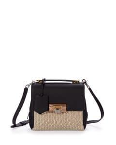 Balenciaga Black Raffia Le Dix Mini Satchel Bag