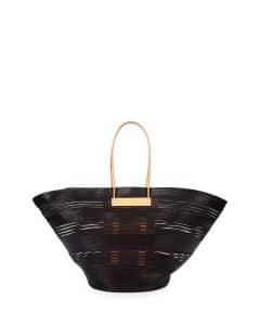 Balenciaga Black/Natural Mani Raffia Cable Basket Tote Bag