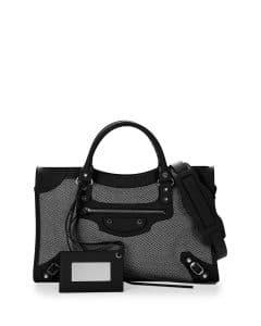 Balenciaga Black/White Perforated Twill Classic City Bag