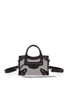 Balenciaga Black/White Toile Classic Mini City Bag