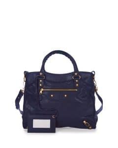 Balenciaga Dark Blue Giant 12 Gold Velo Bag