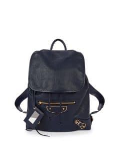 Balenciaga Dark Blue Metallic Edge Traveler Backpack Bag