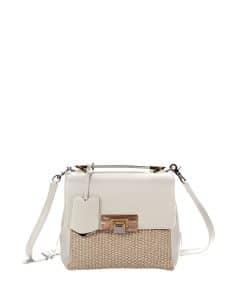 Balenciaga Ivory Raffia Le Dix Mini Satchel Bag