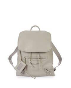 Balenciaga Light Gray Metallic Edge Traveler Backpack Bag