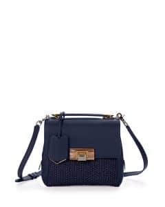 Balenciaga Navy Raffia Le Dix Mini Satchel Bag