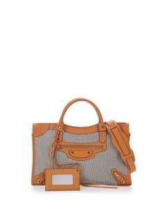Balenciaga Tan Perforated Twill Classic City Bag