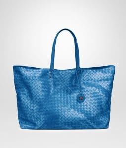 Bottega Veneta Bluette Intrecciolusion Tote Large Bag