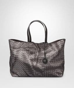 Bottega Veneta New Light Grey Intrecciolusion Tote Medium Bag