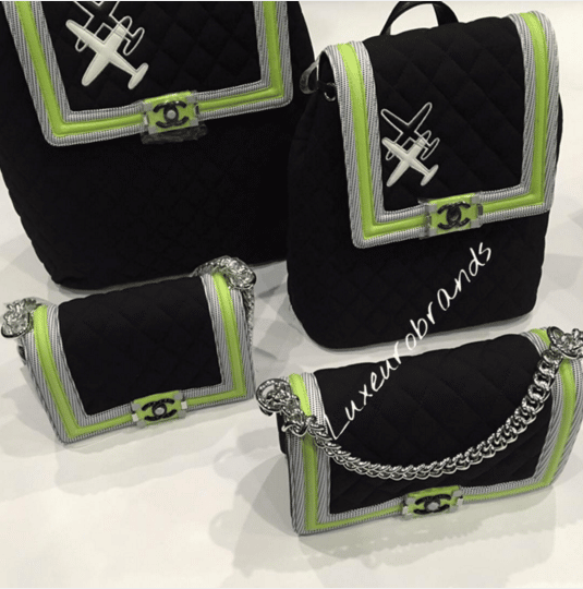 Chanel Black/Neon Green Boy Flap and Backpack Bags - Spring 2016