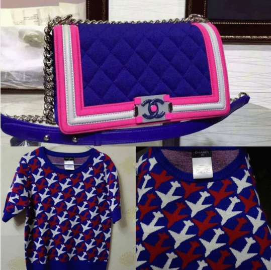 Chanel Blue/Pink Boy Flap Bag and Airplane Print Sweater - Spring 2016