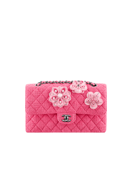 18a42e30005e54 Chanel Pink Flower Embroidered Tweed Clic Flap Bag