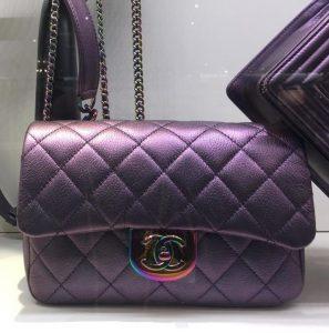ef0c6e48889c ... 2 - Cruise 2016 Chanel Purple Iridescent Hardware Classic Flap Mini Bag  - Cruise 2016 ...