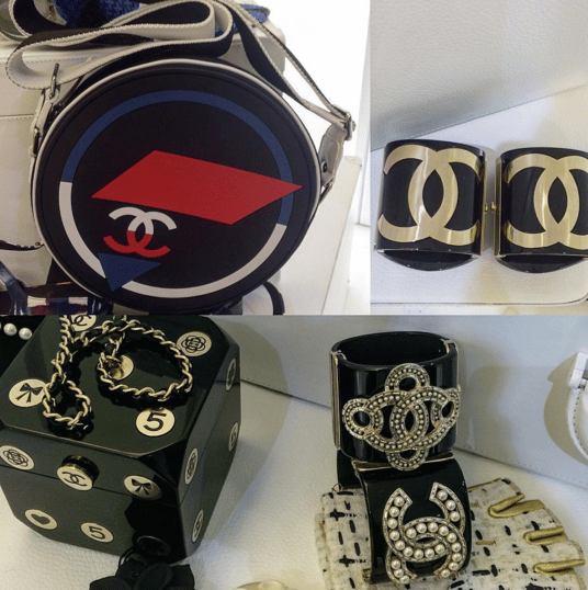 Chanel Round and Cube Bags and Black:Gold Cuffs - Spring 2016