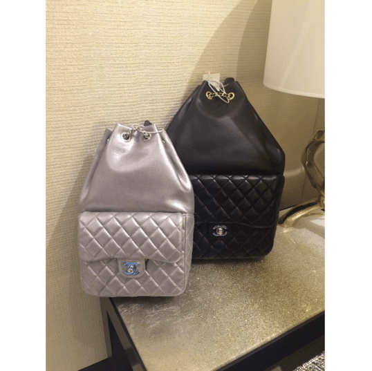 Chanel Silver Small and Black Large Backpack In Seoul Bags  IG   lux brands boutique. Chanel Black Backpack ... c22f0a3cc0c