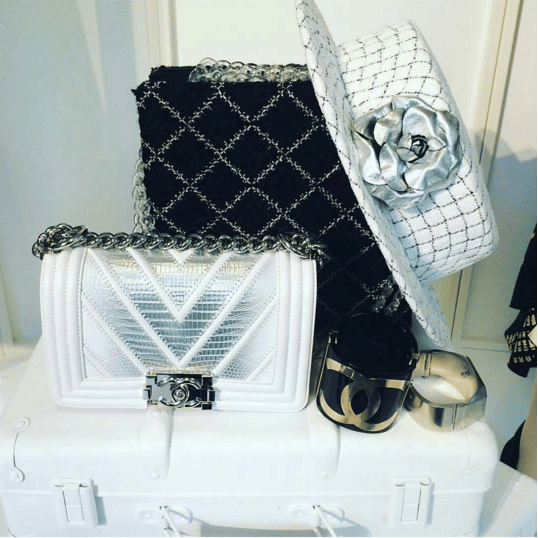 Chanel White/Silver Chevron Boy Flap and Tweed Shoulder Bag - Spring 2016