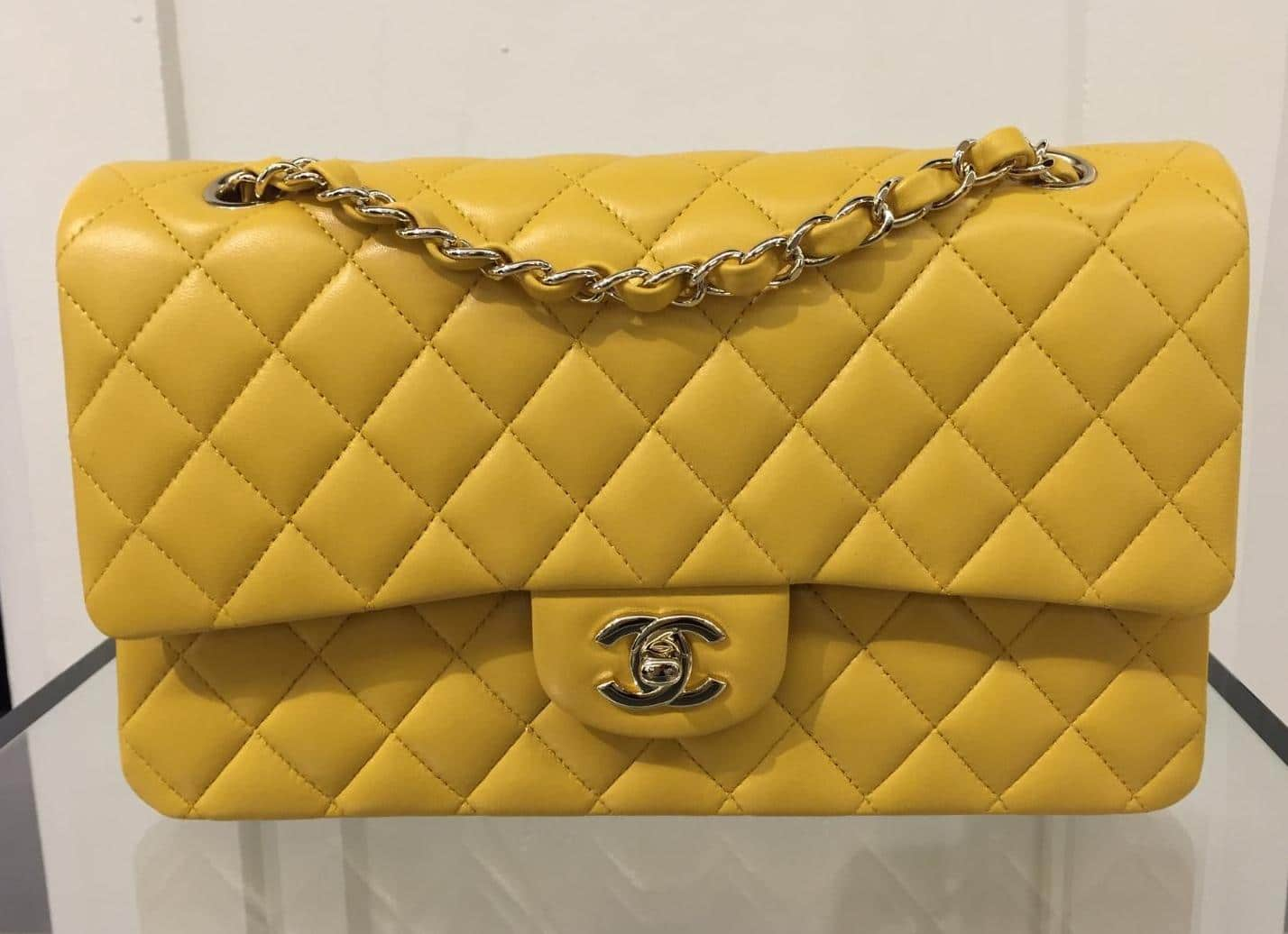ab053ec8fa99 Chanel Yellow Classic Flap Medium Bag - Cruise 2016