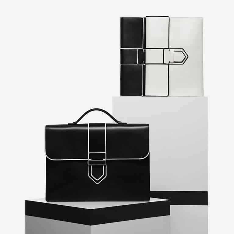 Delvaux Noir/Ivory Cartable Presse I / Presse A4 Bags