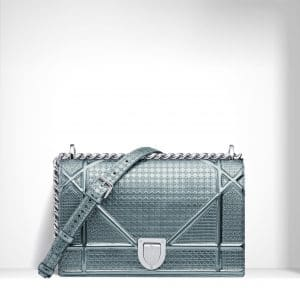 Dior Azure Metallic Calfskin with Micro-Cannage Motif Diorama Bag