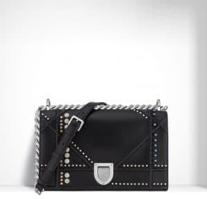 Dior Black Studded with Beads and Crystals Diorama Bag