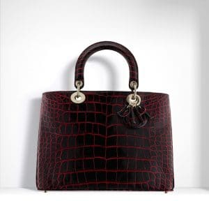 Dior Black/Red Patinated Alligator Diorissimo Bag