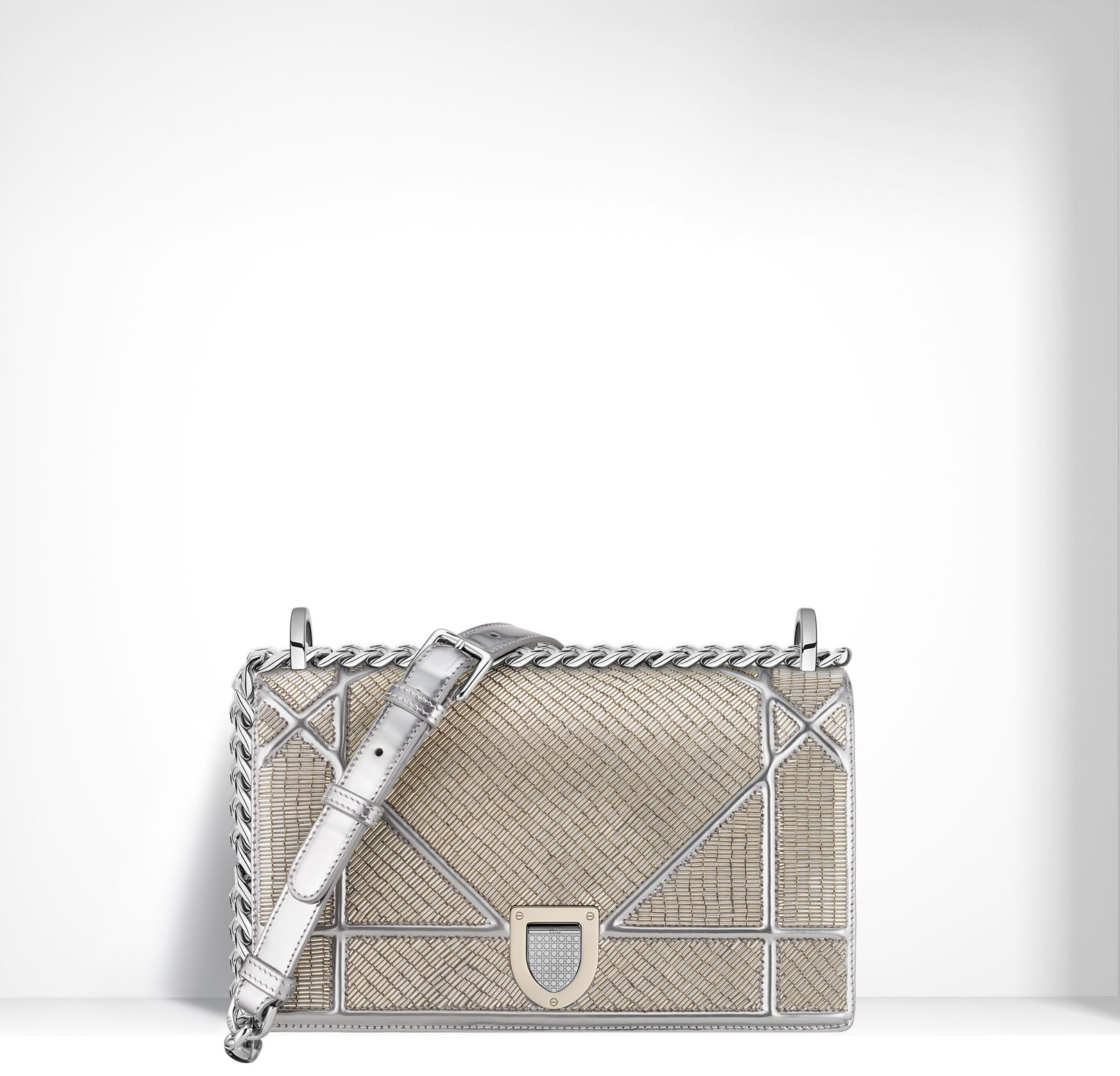 5f099df0e9b5 Dior Mirror Calfskin Embroidered with Silver Sequins Diorama Small Bag ·  Dior Champagne Metallic Calfskin with Micro-Cannage ...