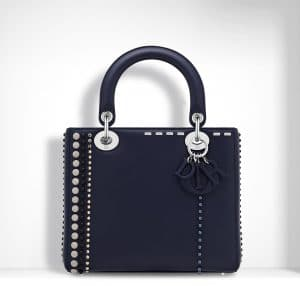 Dior Sapphire Blue Studded with Beads and Rhinestones Lady Dior Bag