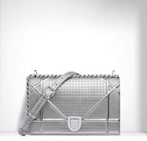 Dior Silver Metallic Calfskin with Micro-Cannage Motif Diorama Bag