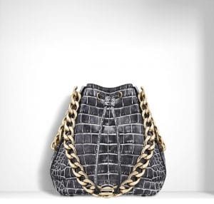 Dior White/Black Patinated Alligator Dior Bubble Small Bag