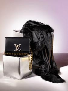 Louis Vuitton Chain Louise GM Bag and Fur Shawl