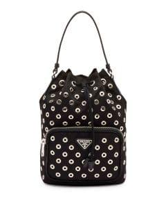 Prada Black Grommet Tessuto Vela Bucket Small Bag