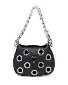 Prada Black Grommet Vitello Daino Chain Hobo Bag