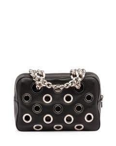 Prada Black Grommet Vitello Daino Chain Shoulder Bag