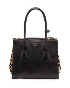 Prada Black Leopard Calf Hair and Calfskin Twin Pocket Tote Medium Bag