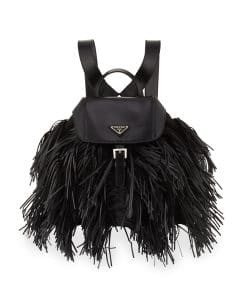 Prada Black Soft Calfskin and Tessuto Fringe Backpack Bag