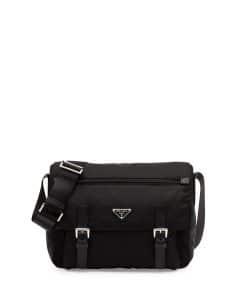 Prada Black Vela Double-Pocket Messenger Small Bag