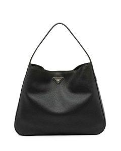 Prada Black Vitello Daino Wide Strap Hobo Medium Bag