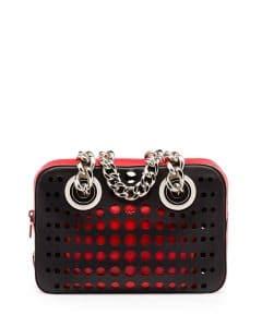 Prada Black/Orange/Red Perforated City Fori Chain Shoulder Bag