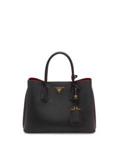 Prada Black/Red Saffiano Cuir Double Tote Small Bag