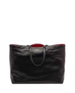 Prada Black/Red Soft Calf Reversible East-West Tote Bag