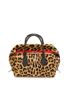 Prada Black/Red/Leopard Calf Hair and Ostrich Inside Medium Bag