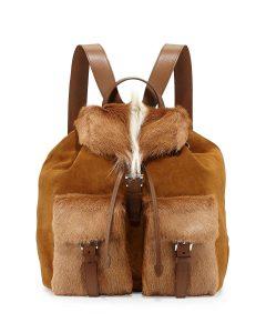 Prada Brown/White Springbok Fur:Suede Backpack Bag