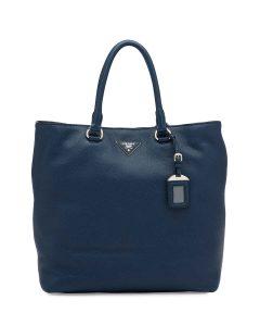 Prada Dark Blue Vitello Daino North-South Tote Bag