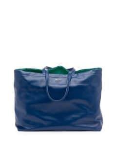 Prada Dark Blue/Green Soft Calf Reversible East-West Tote Bag
