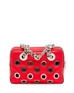 Prada Orange/Red Grommet Vitello Daino Chain Shoulder Bag