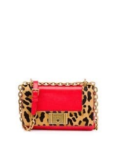 Prada Red/Leopard Print Calf Hair and Calfskin Chain Shoulder Bag