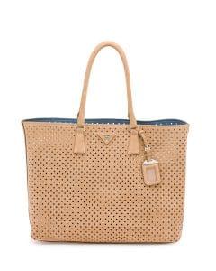 Prada Tan Perforated Suede Tote Bag
