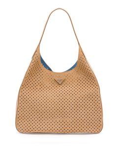 Prada Tan Suede Perforated Hobo Bag