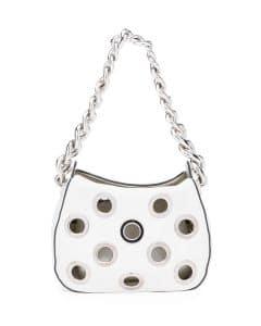 Prada White Grommet Vitello Daino Chain Hobo Bag