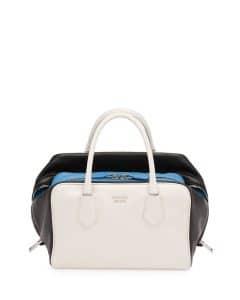 Prada White/Black/Light Blue Inside Medium Bag